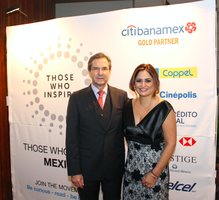 Those Who Inspire Mexico book launch event at the residence of the British Ambassador in Mexico, Mr Duncan Taylor. Esteban Moctezuma (left), President Fundación Azteca, and Rocio Marfil, director Those Who Inspire Mexico© Those Who Inspire